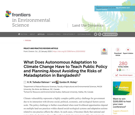 What Does Autonomous Adaptation to Climate Change Have to Teach Public Policy and Planning About Avoiding the Risks of Maladaptation in Bangladesh?