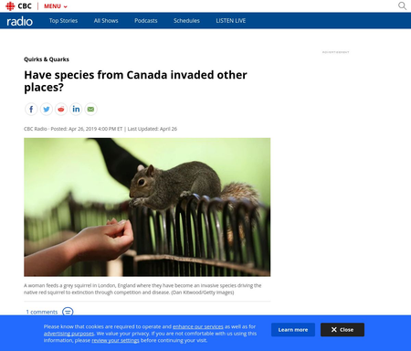 Have species from Canada invaded other places?